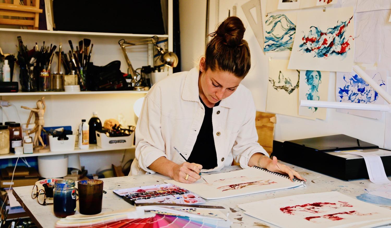 Dans l'atelier de l'artiste Dahflo, novembre 2020