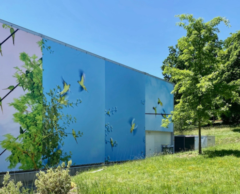 L'oiseau bleu, installation Collectif 1m83, Palais des Nations, Genève